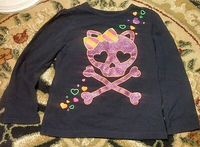 Aspiring Sparkle Kitty Skull Hearts Long Sleeve Shirt Size 5t Girls Pet/smoke Free To Be Distributed All Over The World Baby & Toddler Clothing Clothing, Shoes & Accessories