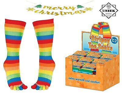 STRIPY TOE SOCKS Soft Ladies Mens Kids Fancy Dress Toy Gift Rainbow Socks Tights
