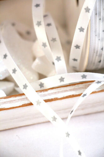 Borten dekoband blanco plata estrellas 3m asterisco banda Little Stars 0,40 €//m