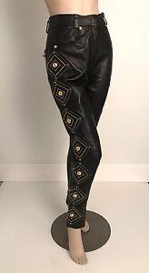 8d313ec0 Details about 1992 Gianni Versace Bondage Collection Vintage Leather Pants  W/Medusa Medallions