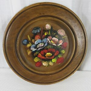 Vtg-Franco-Italy-Wooden-Wood-Hand-Painted-Decorative-Tray-Plate-Floral-Toleware