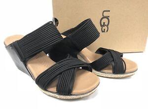 2e6842693f6 Details about UGG Australia Women's Hilarie Wedge Slide Sandal Sandals  Black 1012184 Studded