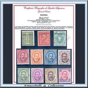 FAI-IL-PREZZO-Colonie-Italiane-1893-Eritrea-Prima-Serie-n-1-11-Certificato