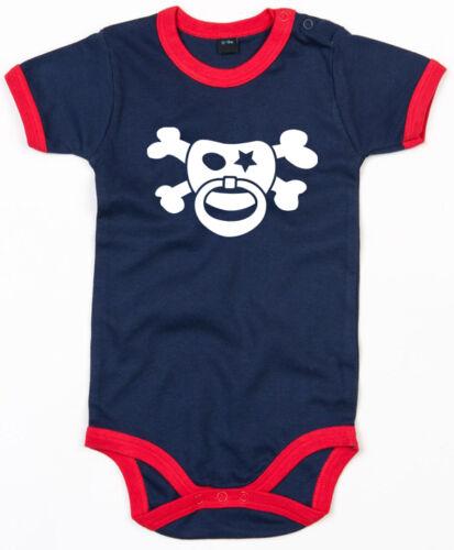 SCHNULLERPIRAT Ringer Baby Body navy//red