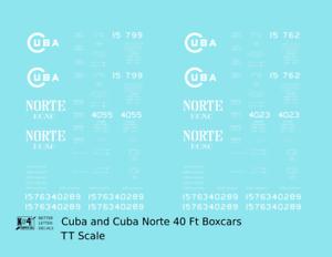 K4-TT-Decals-Cuba-Railroad-amp-Norte-40-Ft-Single-Sheathed-Boxcar-White-1920s-Era
