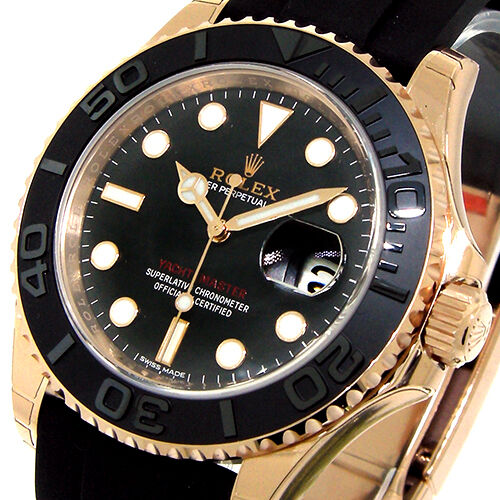 UNWORN ROLEX YACHTMASTER 40 mm EVEROSE PINK ROSE GOLD 116655 OYSTERFLEX BLACK
