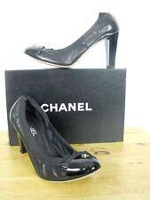 NIB CHANEL Escarpins CC Logo Patent & Leather Elastic Trim Pumps Shoes 40.5 IT