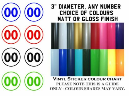 "2x Body Panel Decals 3/""  Vinyl Number Sticker Decal ANY NUMBER//COLOUR//FINISH"