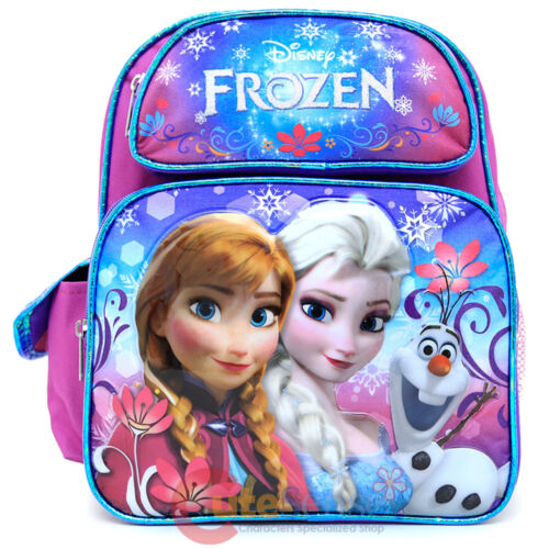 Disney Frozen Elsa Anna 12 School Backpack Girls Medium Bag - Floral Flakes