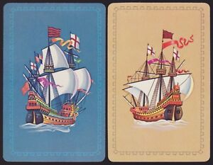 2-Single-VINTAGE-Swap-Playing-Cards-GALLEONS-TALL-SHIP-FLAGS-CROWS-NEST-Blue-Tan