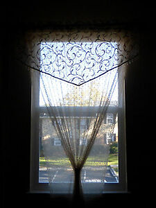"Floral Lace Curtains/Panels/Sheers Bedroom Dining Room, Ivory, Beige, 84"" x 54"""