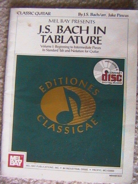 MEL BAY PRESENTS J.S. BACH IN TABULATURE VOLUME # 1 CLASSIC GUITAR 1992 WITH CD