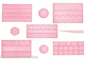 Kitchen Craft Silicone Cake Lace Icing Decorating Mats & Spreader - Full Range