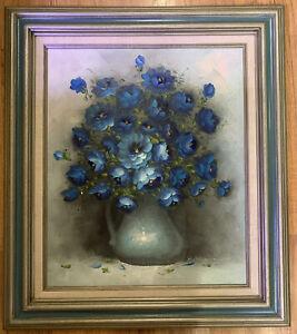 "Still Life Oil Painting, Blue Zinnias, Art Deco Vase, 20""x24"" Signed"