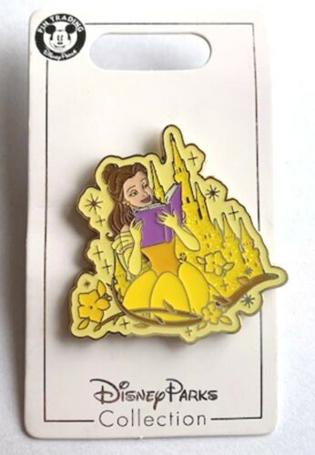 NEW DISNEY PRINCESS BELLE READING A BOOK /& SPARKLE CASTLE PIN