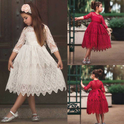 Flower Girl Princess Dress Kid Baby Christmas Party Pageant Lace Dresses Clothes
