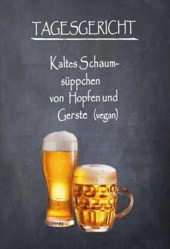 Blechschild 20x30cm Tagesgericht Bier Hopfen Gerste vegan Metall Schild Tin Sign