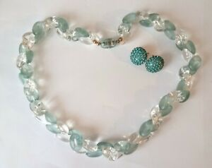 50s Lucite Necklace, Clear And Pale Turquoise Beads, free vintage earrings #719
