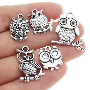 Lot-of-10-Mixed-Vintage-Silver-Metal-Cute-Owl-Look-Charm-DIY-Jewelry-Pendants