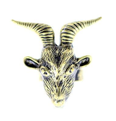 vintage antique retro style bronze goat charm ring