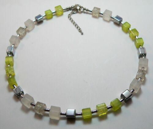 Würfelkette Halskette Cube Würfel weiss lemon silber mehrfarbig bunt  338v