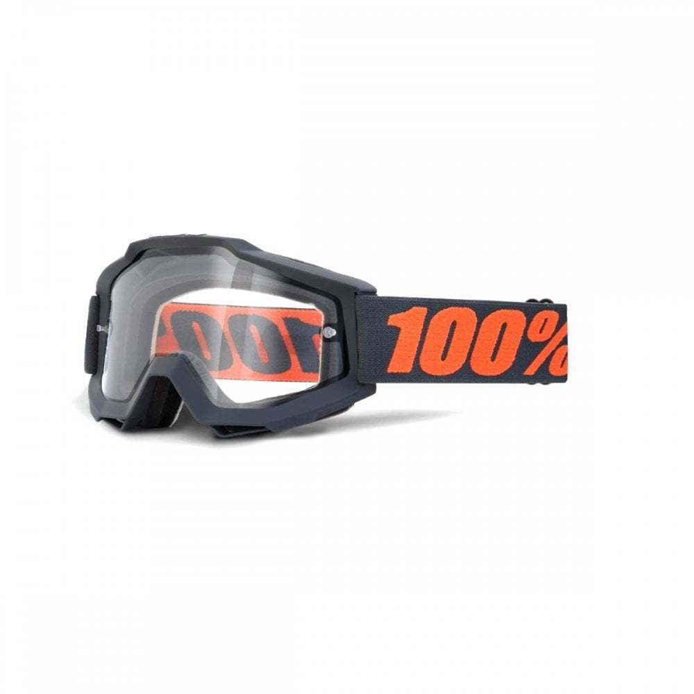 100% Accuri Enduro MOTO Goggles - Gunmetal With Clear Dual Lens