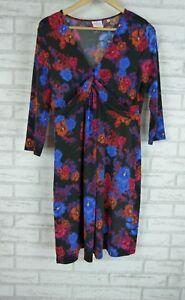 LEONA-BY-LEONA-EDMISTON-Dress-Sz-12-Black-Blue-Orange-Red-Floral-Print