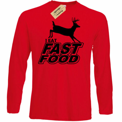 Je mange Fast Food Drôle Hommes T Shirt Hunter Deer Tir Chasse Cadeau Long Tee