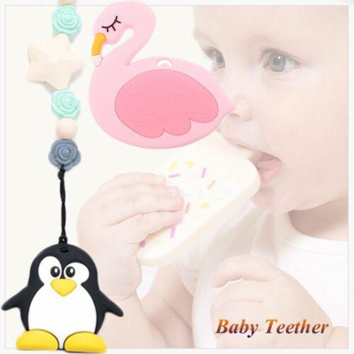 spielzeug flamingo bpa free baby teether kauen sie perlen biss pinguin