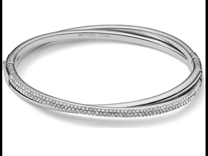 Details About Michael Kors Womens Mk Brilliance Silver Bangle Bracelet Mkj3278040 Crystal Pave