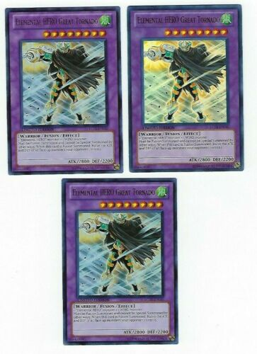 X3 YUGIOH ELEMENTAL HERO GREAT TORNADO  LC02-EN010 ULTRA RARE LE