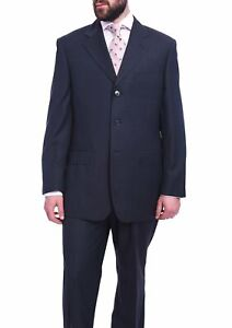 Mens-42R-Men-039-s-Classic-Fit-Blue-3-Button-Pleated-Wool-Suit-Made-In-Italy