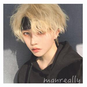 Yellow Fluffy Short Hair Harajuku Kakkoii Hairpiece Boys Men Daily Cosplay Wig Ebay