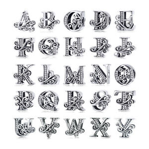 Hot-925-Silver-26-Letters-Charm-Beads-With-CZ-Fit-Bracelet-Chain-Jewelry-Women