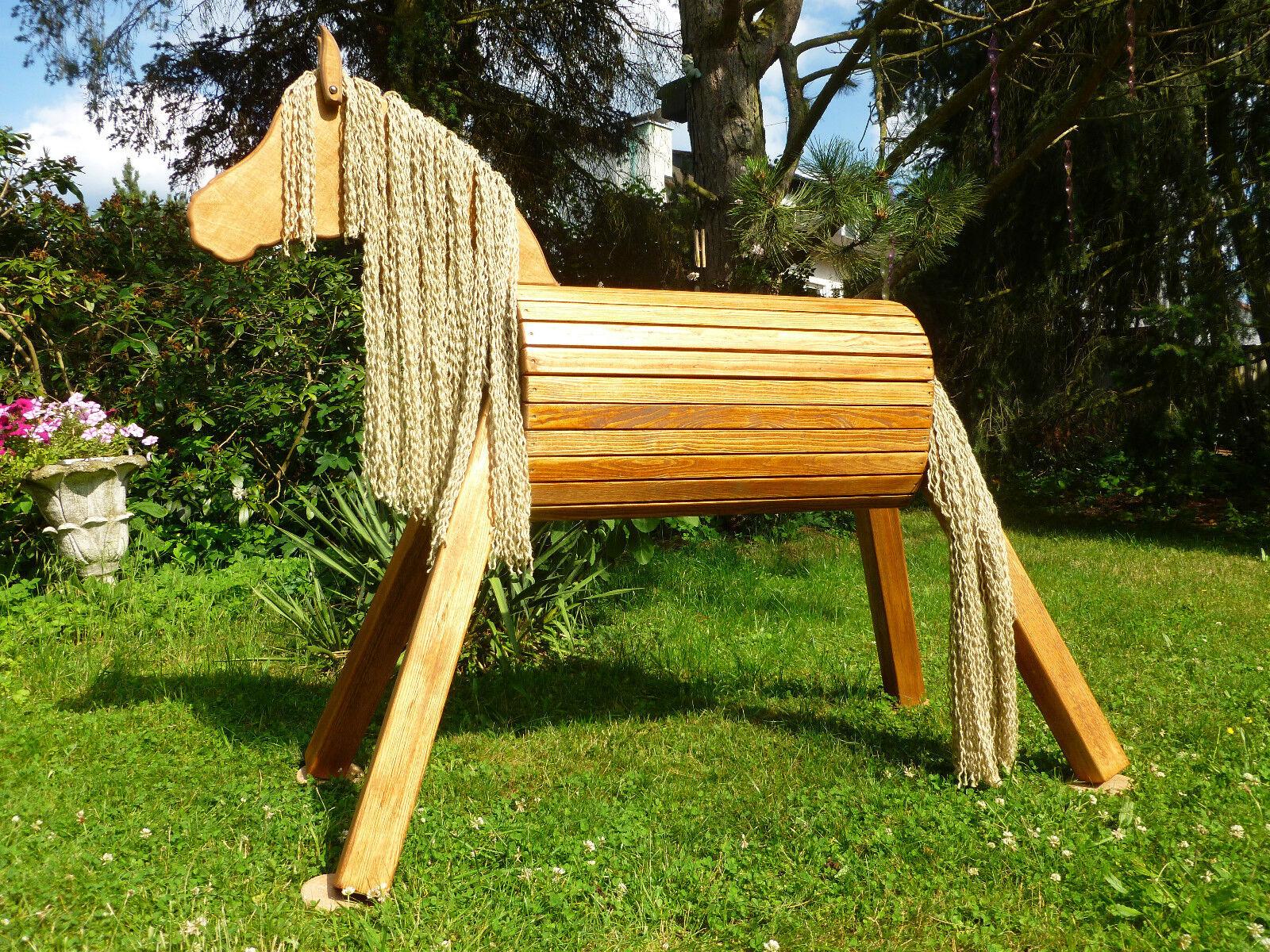 75cm Holzpferd Holzpony Voltigierpferd Spielpferd Pferd Pony  wetterfest NEU