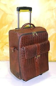 Details about Real Leather Cabin size Suitcase Trolley bag Weekend Overnight Luggage Crocodile