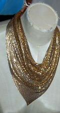 Vintage estate Whiting & Davis Gold Tone Mesh BIB Necklace, Signed