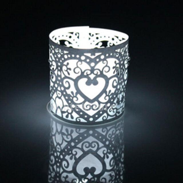6Pcs Party Laser Cut Lanterns Wedding Heart Paper Candle Light Holder
