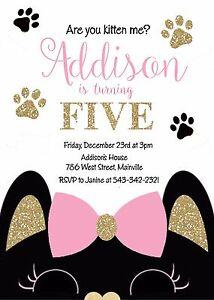 Cat Kitten Kitty Birthday Party Invitation Ebay