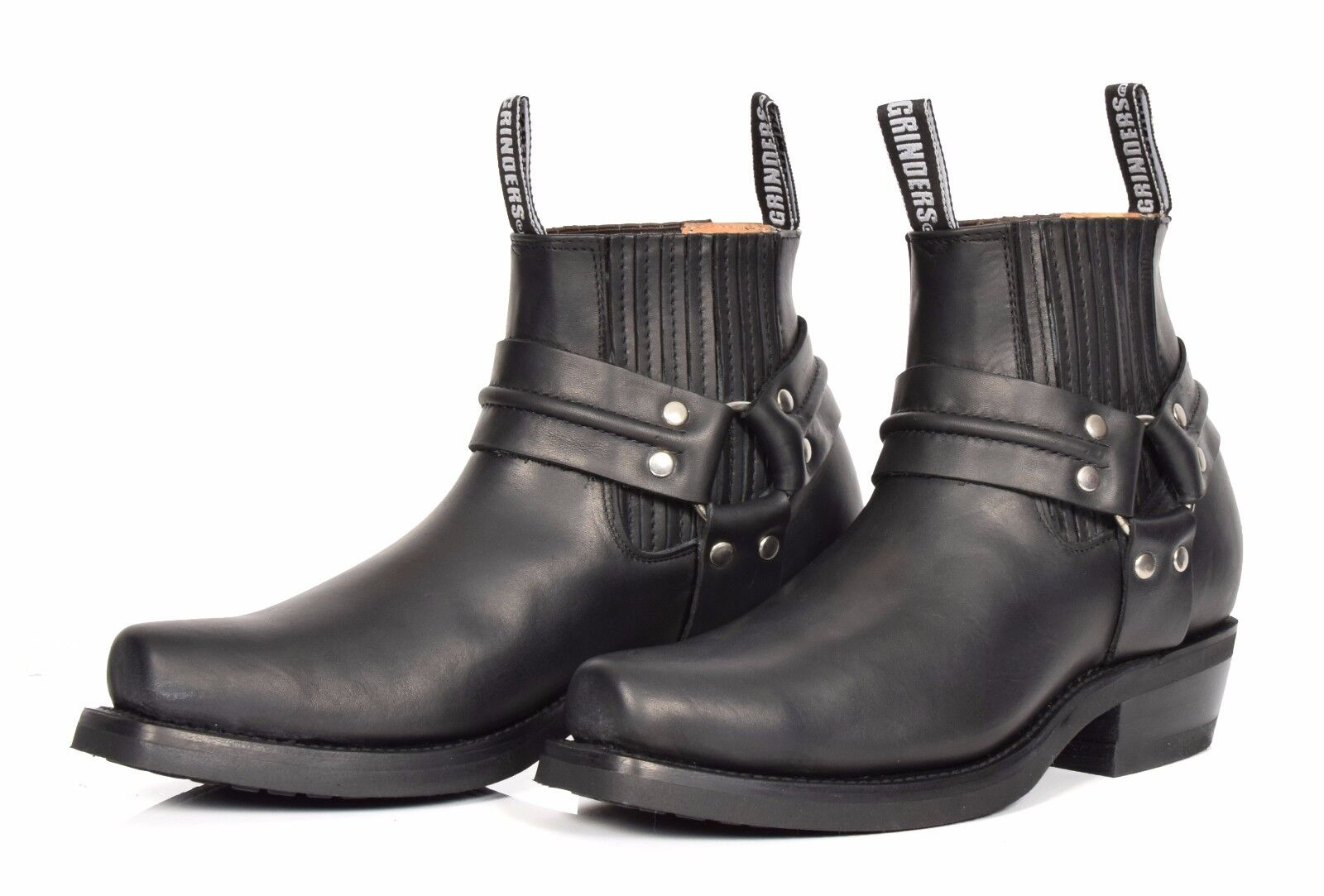 Real Leather Chelsea Boots Boots Boots Cowboy Biker Style Slip On Square Toe shoes Black 99eb15