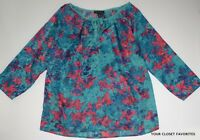 Willi Smith Women's S Small Floral Print Peasant Blouse Top Loose Fit