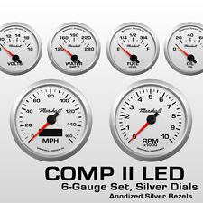 C2 6 Gauge Set, Silver Dials, Silver Bezels, 0-90 Ohm Fuel Level, 2464