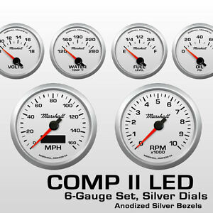Marshall-6-Gauge-Set-Silver-Dials-Silver-Bezels-0-90-Ohm-Fuel-Level-2464