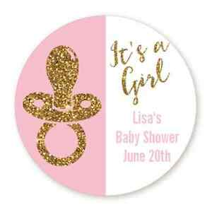 it s a girl gold glitter pacifier round personalized baby shower