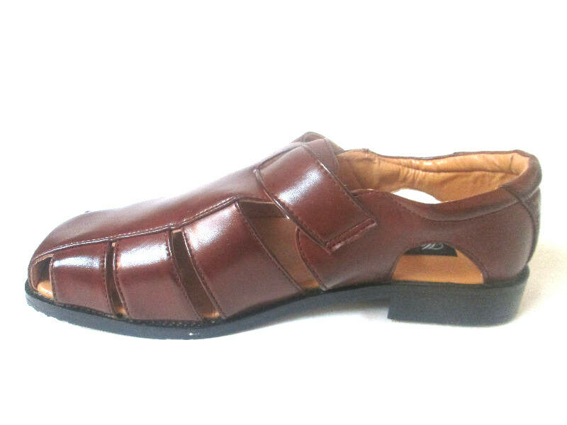 Marco Rossi Faux Fishermen Brown Sandals Straps*Vegan Faux Rossi Leather*Close Toe TS1 885112