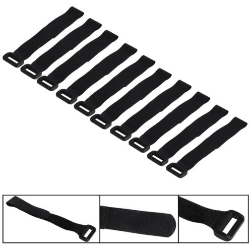 10X 20*2cm Strong RC Battery Tie Down Strap Reusable Antiskid Cable Straps Black