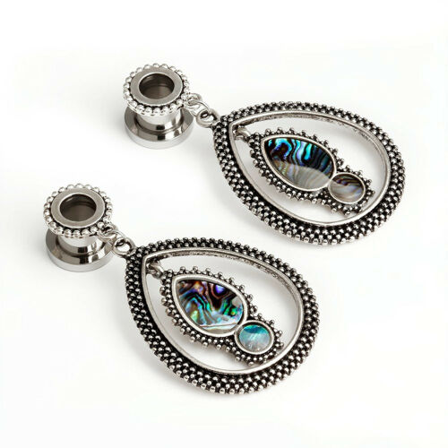 Ear Plugs Tear Drop Dangle Antique look Design with Synthetic Opal Sold By Pair