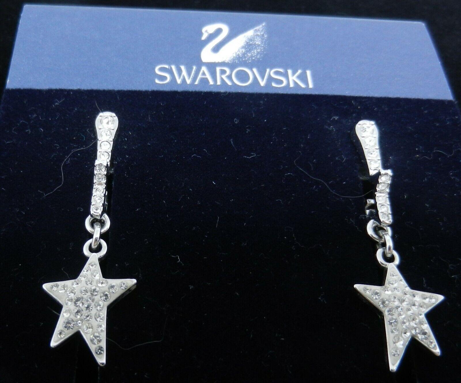 Signed Swarovski Flicker Star Earrings Dangle 973… - image 2