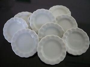 10 White Oval Plates Dollhouse Miniatures Ceramic Food Supply Deco