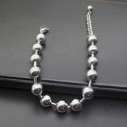 6-10 mm Fashion Hommes rondes en acier inoxydable perle Bracelet manchette Punk chaîne bracelet